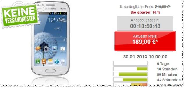 Samsung Galaxy S Duos heute für 189 € bei getgoods.de