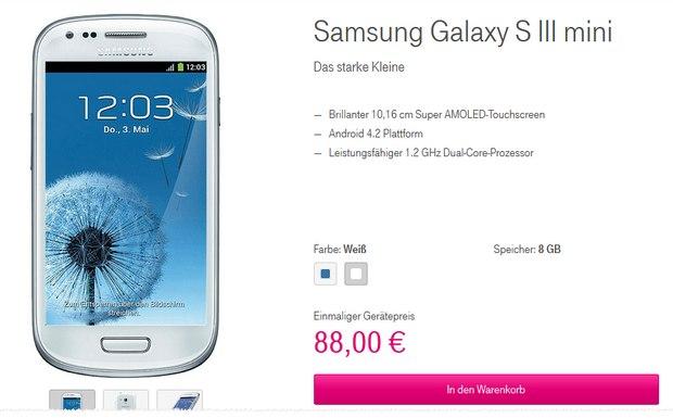 Samsung Galaxy S3 mini für 88 € im Telekom-Shop ohne Vertrag
