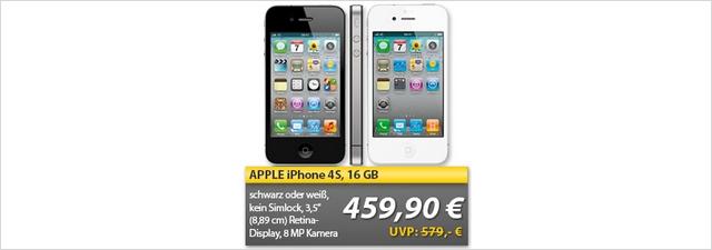 Apple iPhone 4S ohne Vertrag für 459,99 €