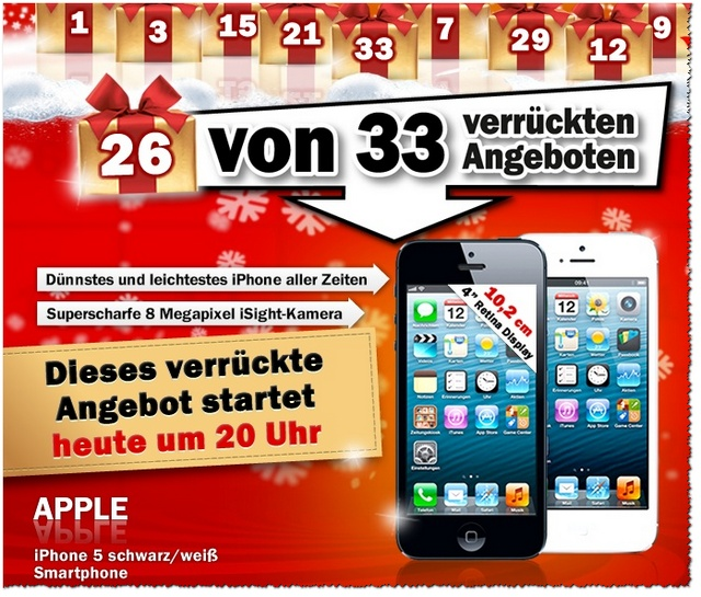 iPhone 5 im MediaMarkt-Adventskalender am 24.12.2012 für 579 €