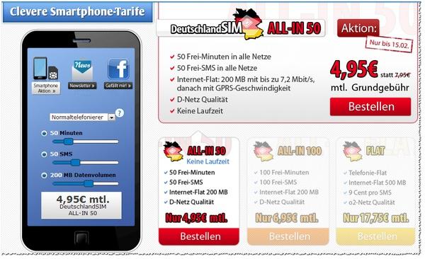 DeutschlandSIM: ALL-IN 50 im Vodafone-Netz für 4,95 €