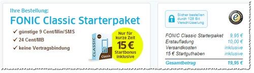 FONIC Classic Prepaid-Karte mit 15 € Startguthaben