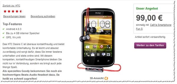 HTC Desire C für 99 € bei Vodafone als Prepaid-Smartphone
