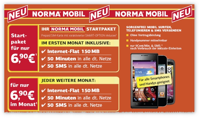 Norma Mobil: Smartphone-Option ab 6,90 €