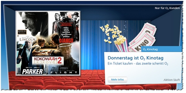 O2 Kinotag mit O2 Plus-Eins-Tickets