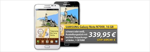 Samsung Galaxy Note N7000 ohne Vertrag für 329,99 €