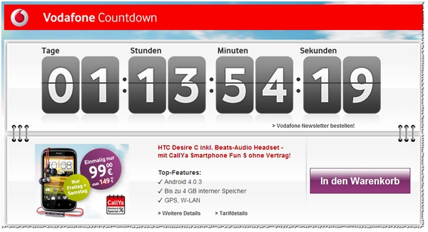 Im Vodafone Countdown: CallYa Weekend Special