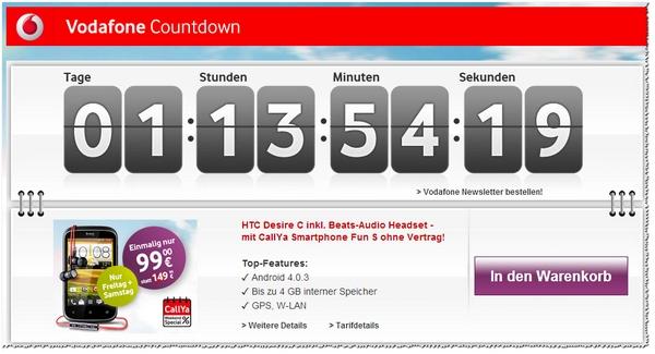 Im Vodafone Countdown: CallYa Weekend Special