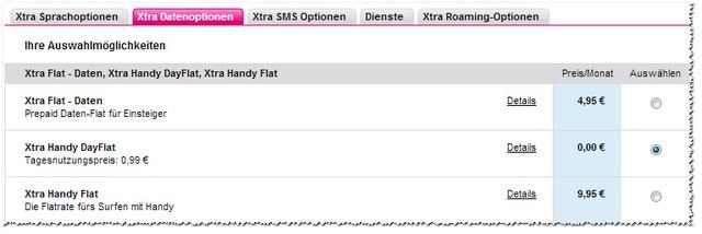 Xtra Flat: Datenoptionen
