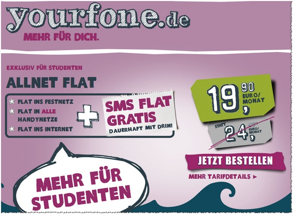 yourfone Studententarif: Neue Full-Flat für Studis bis 29 Jahre