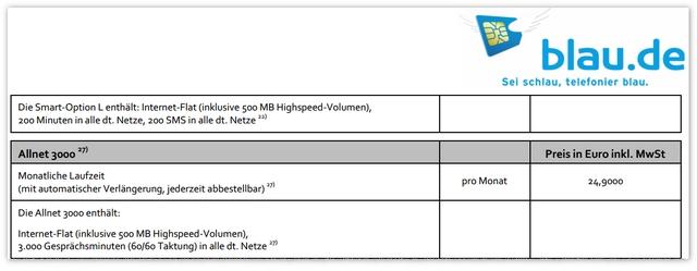 blau.de Allnet 3000 in der aktuellen Preisliste