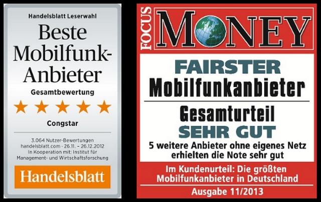 Auszeichnungen für den Congstar-Tarife (Handelsblatt, FOCUS Money)