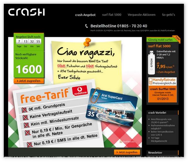 Crash-Tarife: Tankgutschein (ARAL) geschenkt!
