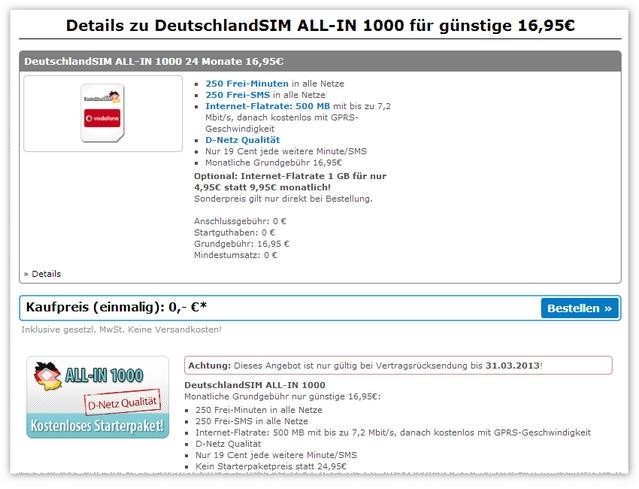 DeutschlandSIM ALL-IN 1000 ohne Anschlussgebühr