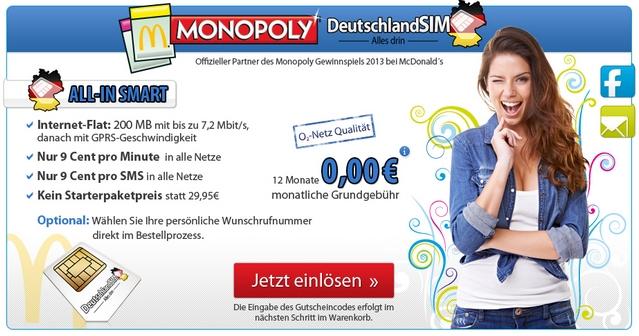 DeutschlandSIM ist in diesem Jahr Monopoly-Partner
