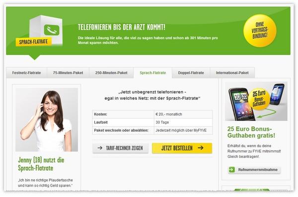 FYVE Allnet-Sprach-Flatrate künftig 7 € günstiger
