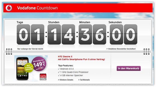 Der Vodafone-Countdown läuft: HTC Desire X ohne Vertrag für 149 €