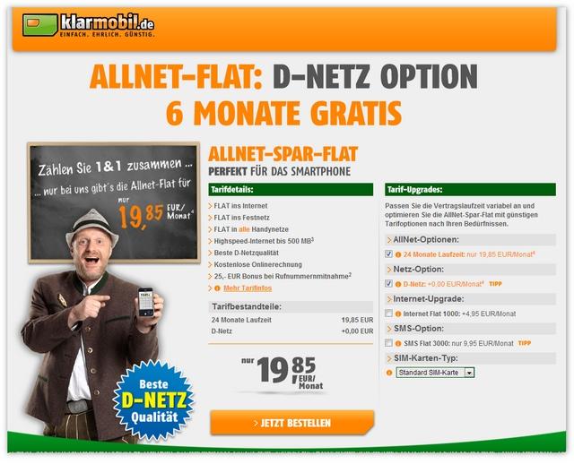 Klarmobil Allnet-Spar-Flat im D-Netz 6 Monate günstiger