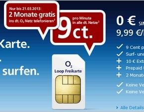 O2 Loop Freikarte Smartphone: 2 Monate gratis im O2-Netz telefonieren (Aktion bis 21.03.2013)