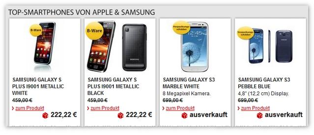 Samsung Galaxy S Plus bei MeinPaket als B-Ware für 200 €