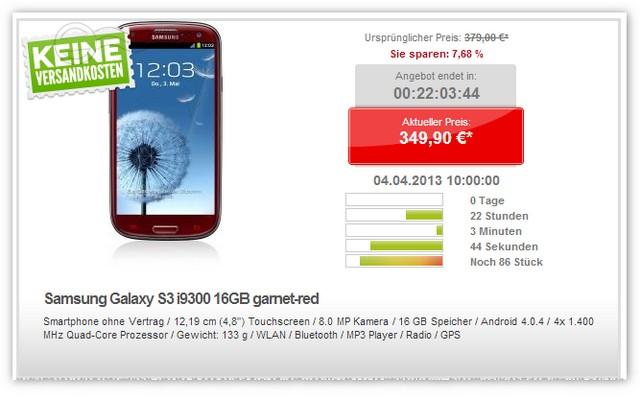 Samsung Galaxy S3 in Garnet-Red bei Getgoods am 03.04.2013