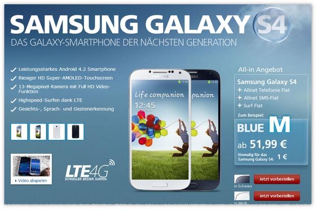 Samsung Galaxy S4 inkl. Handytarif O2 Blue M