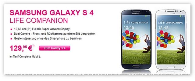 Samsung Galaxy S4 Life Companion vorbestellbar bei der Telekom (Screenshot Shop, Quelle: t-mobile.de)