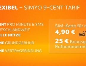 Simyo Prepaid-Tarif (9 Cent) mit 10 € Startguthaben