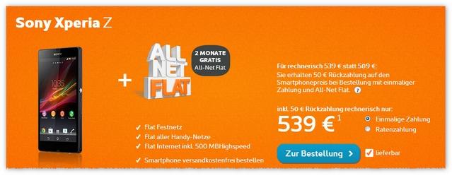 Sony Xperia Z mit Vertrag Simyo Allnet-Flat