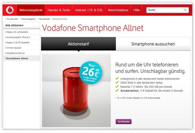 Vodafone Smartphone Allnet Tarifdetails
