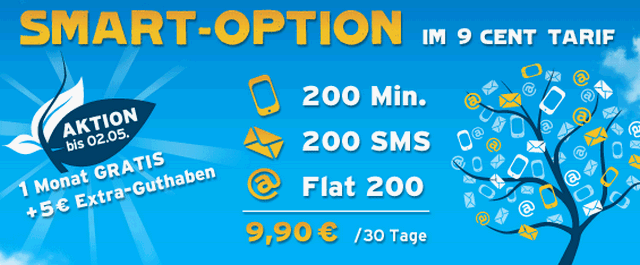 Blau.de Smart-Option jetzt mit zusätzlich 5 € Guthaben