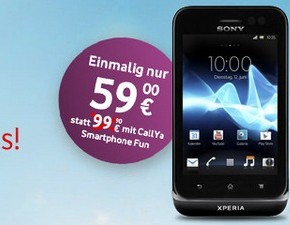 CallYa Weekend Special: Sony Xperia tipo mit Prepaid-Tarif CalYa für 59 €