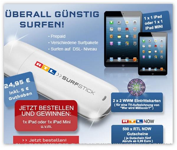 Aktuelles RTL Surfstick Gewinnspiel