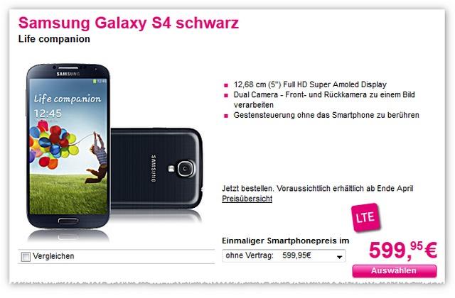 Samsung Galaxy S4 ohne Vertrag bei der Telekom überraschend günstig