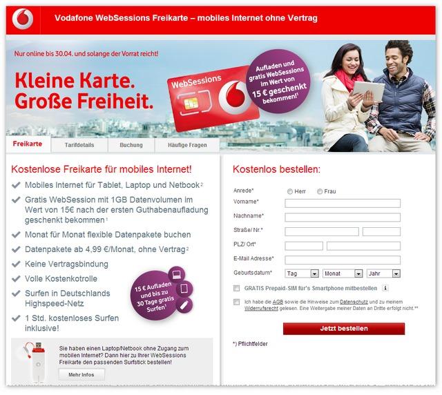 Details zur Vodafone WebSessions Freikarte