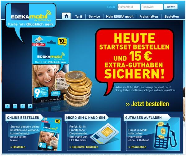 EDEKA mobil Starterset mit 15 € Extra-Guthaben