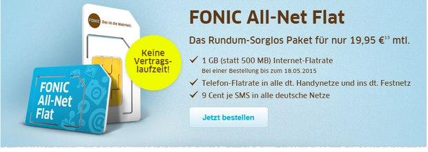FONIC Allnet-Flat: Prepaid-Tarif mit 1GB Internet-Flat bis 18.5.2015