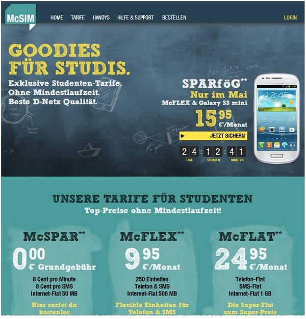 Neue Studententarife bei McSIM