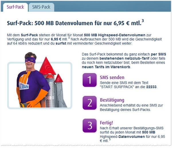 Das Netzclub Surf-Pack bietet 500 MB für 6,95 €