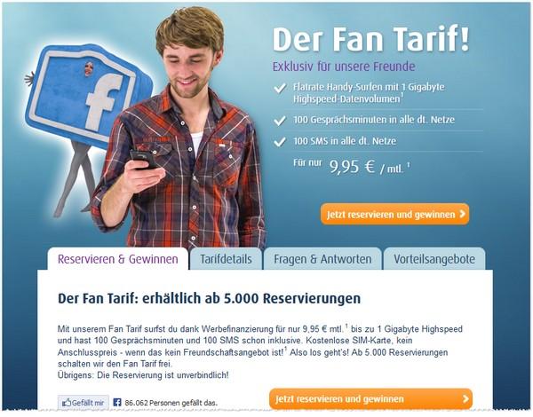 Netzclub Fan-Tarif Reservierung