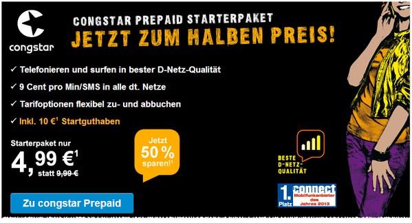 Congstar Prepaid Karte günstiger