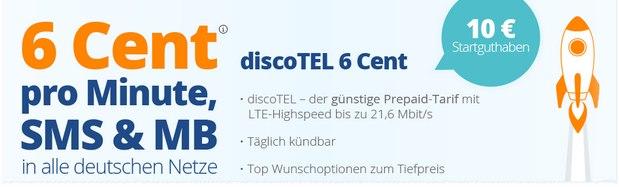 discoTEL 6 Cent Prepaid-Tarif mit LTE