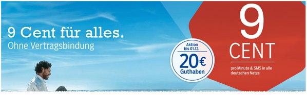 blau Prepaid-Karte mit 20 Euro Guthaben