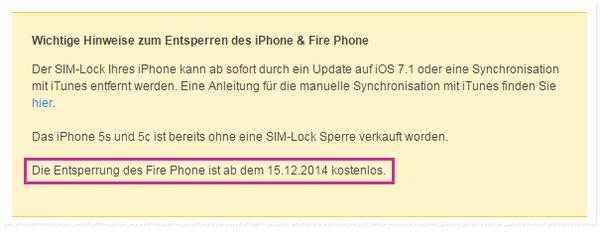 Amazon Fire Phone SIM-lock entfernen