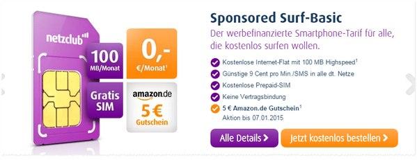 netzclub Freikarte mit 5 € Amazon-Gutschein