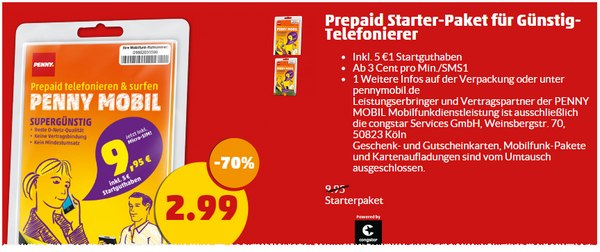 Penny mobil Prepaid-Startpaket am Framstag für 2,99 €