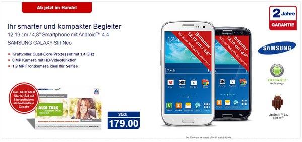 Samsung Galaxy S3 Neo bei ALDI Nord ab 11.12.2014 für 179 €