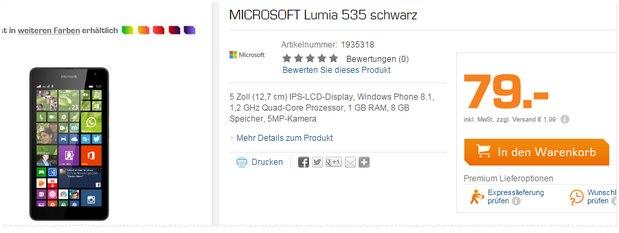 Microsoft Lumia 535 als Saturn Angebot für 79 €