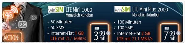 winSIM LTE Mini-Handytarife