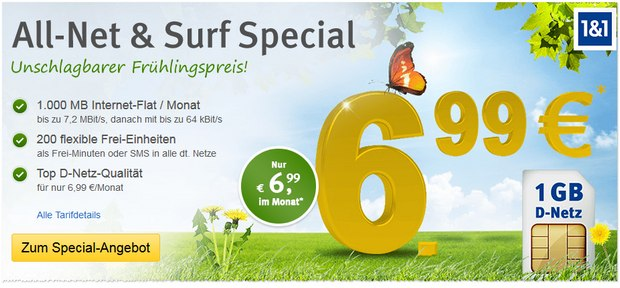 WEB.DE All-Net & Surf Special für 6,99 €